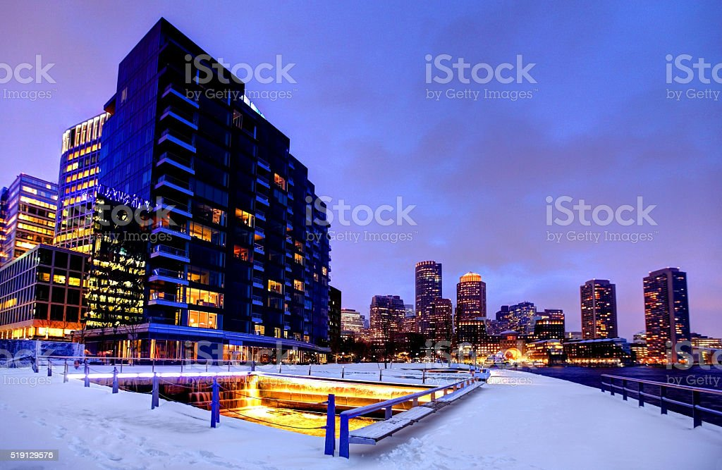 Boston's new innovative Seaport District along the waterfront stock photo