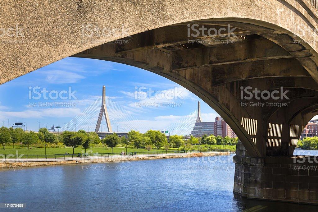 Boston's NorthPoint Park and Zakim Bridge stock photo