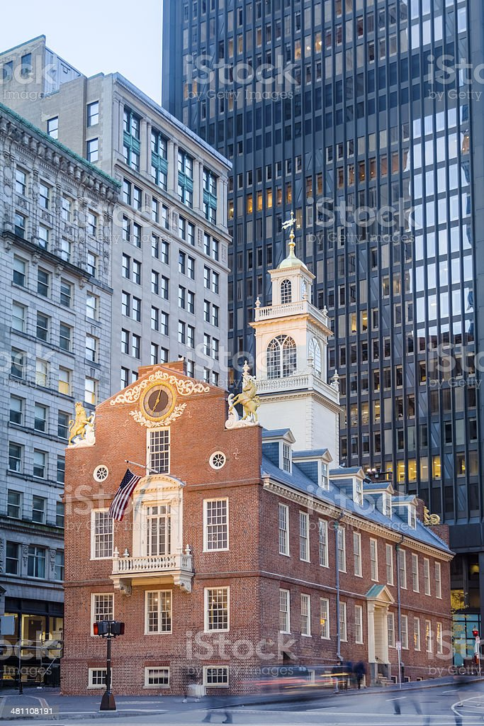 Boston's Old State House Gleams in the Sunshine stock photo