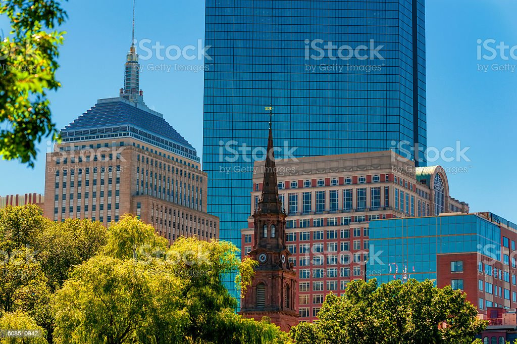 Boston's Skyline view from Public Gardens stock photo
