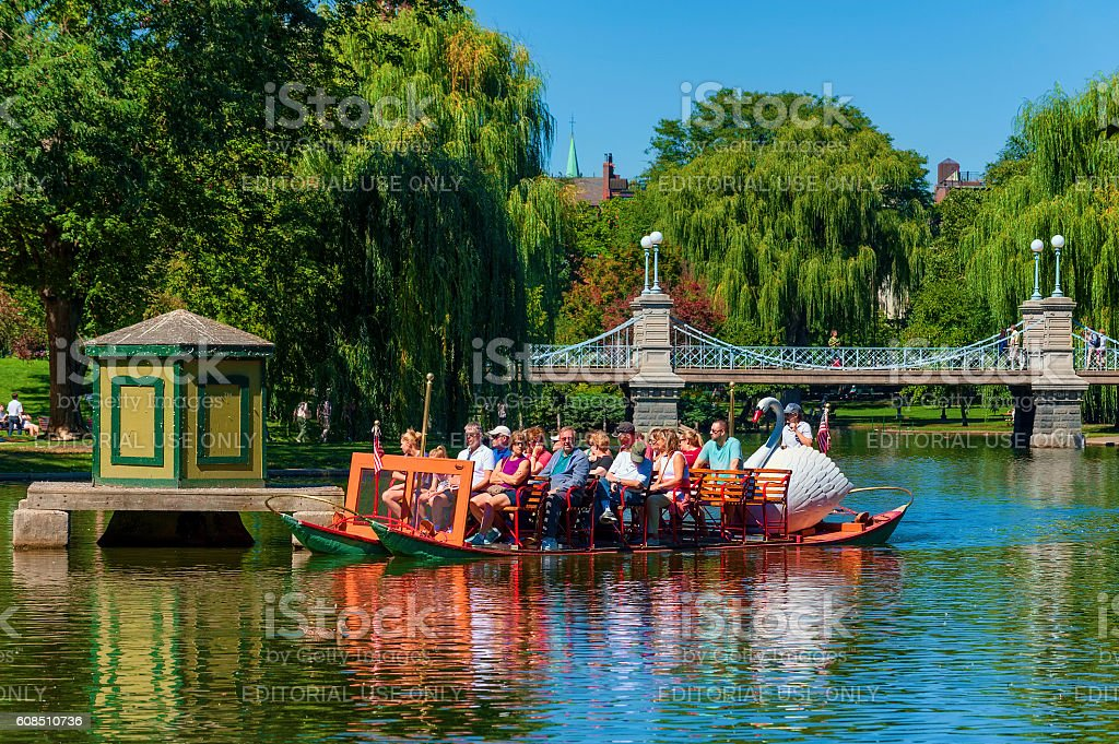 Boston's Swan Boat on pond stock photo
