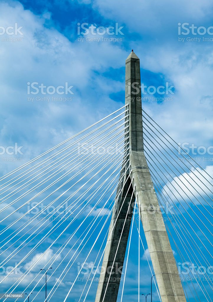 Boston's Zakim Bridge Cable and Pillar Detail stock photo