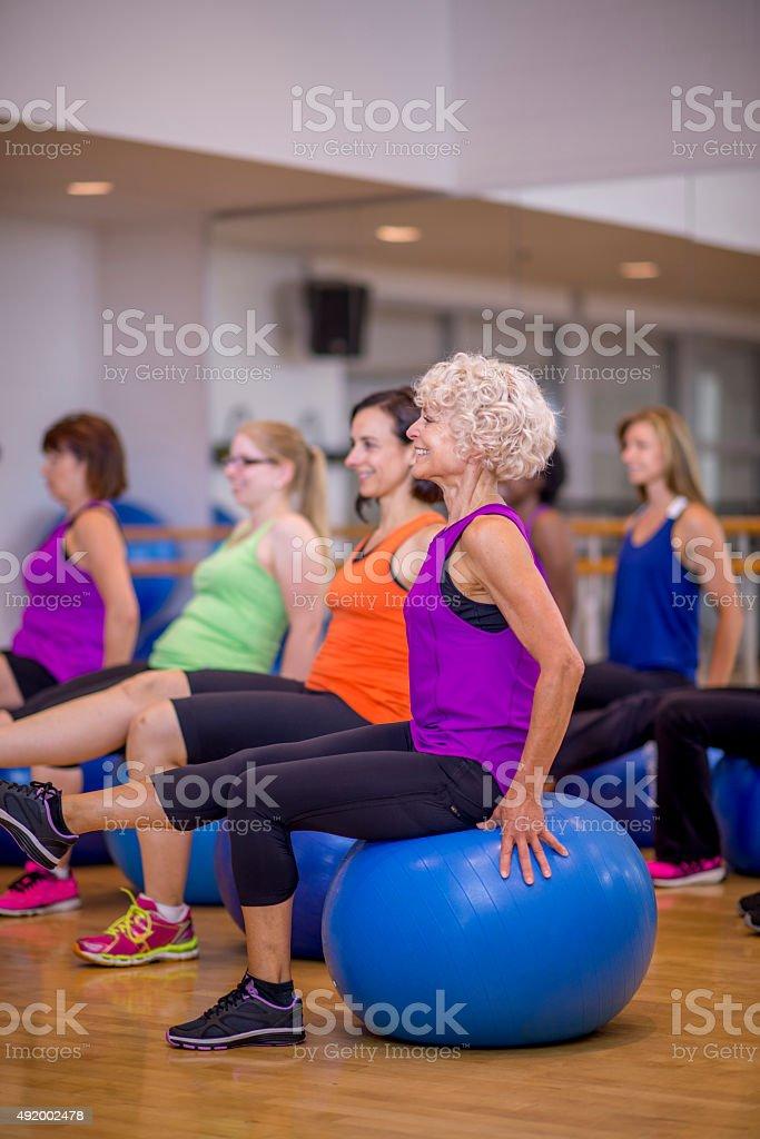Bosu Ball Balancing Exercise stock photo