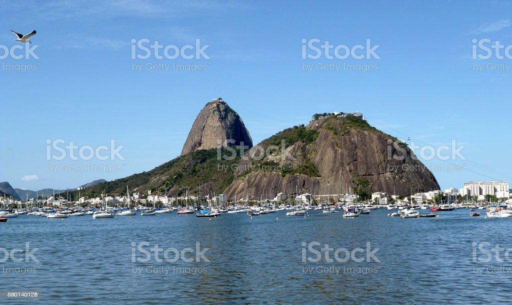 Botafogo bay and Sugar Loaf mountains in Rio stock photo