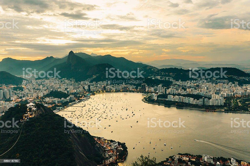 Botafogo bay at dusk, Rio de Janeiro stock photo