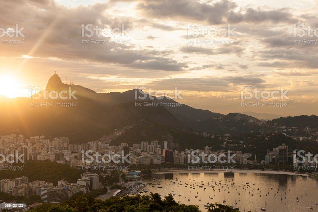 Botafogo bay at sunset, Rio de Janeiro stock photo