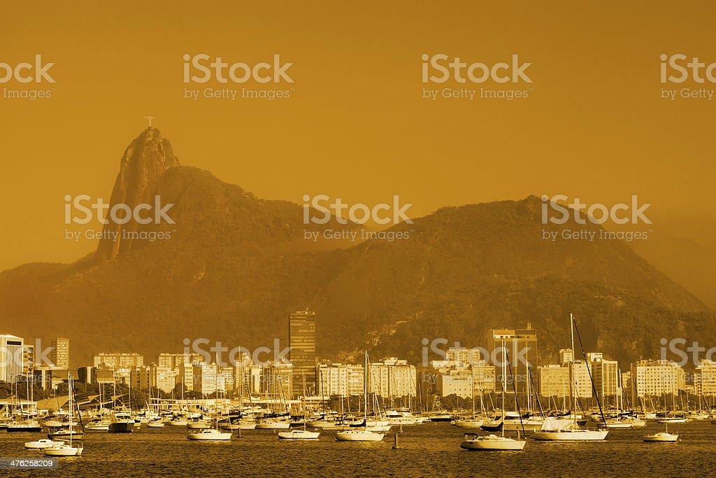 Botafogo Beach and Corcovado Mountain royalty-free stock photo