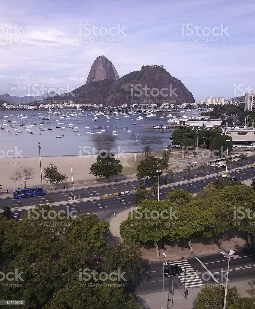 Botafogo Beach and Marina and Sugarloaf in Urca, Rio royalty-free stock photo