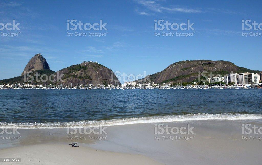 Botafogo beach and Sugar Loaf mountains in Rio stock photo