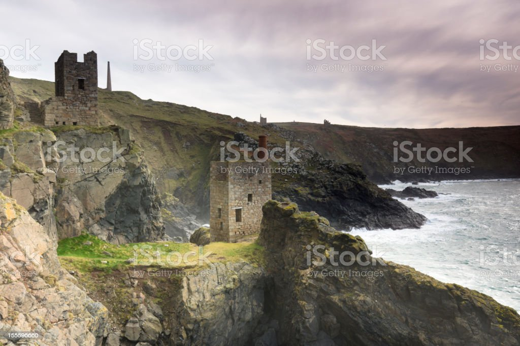 Botallack abandoned tin mines in Cornwall stock photo