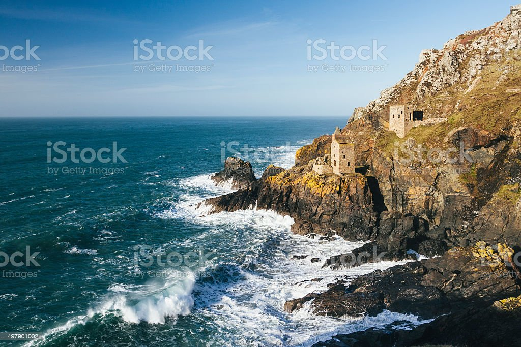 Botallack tin mine engine houses perched on the cliffs stock photo