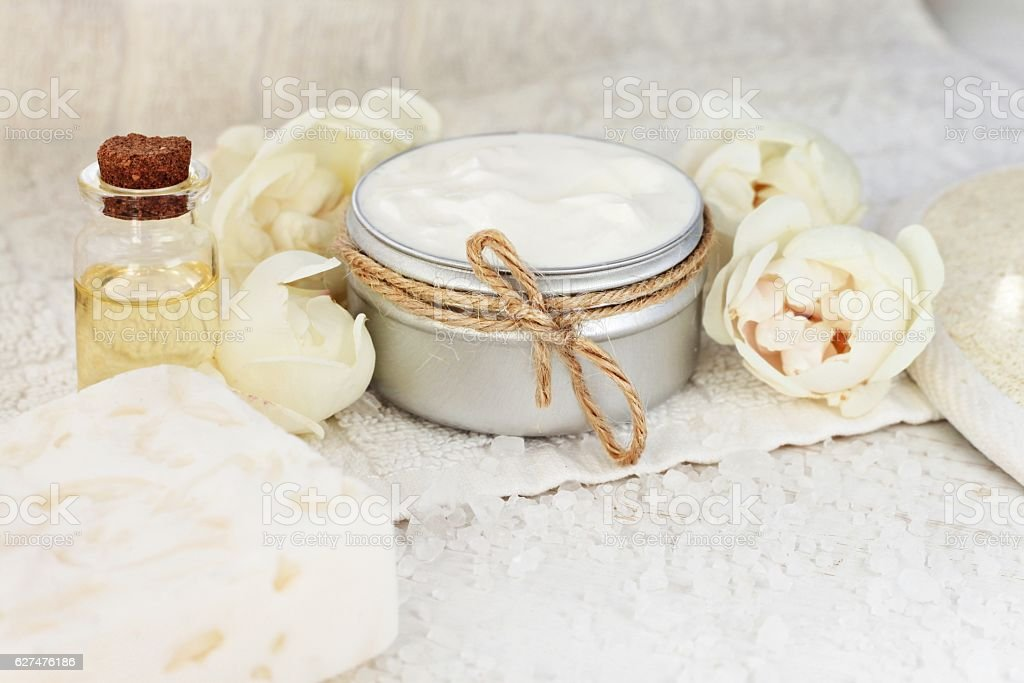 Botanical facial mask with rose blossom. stock photo