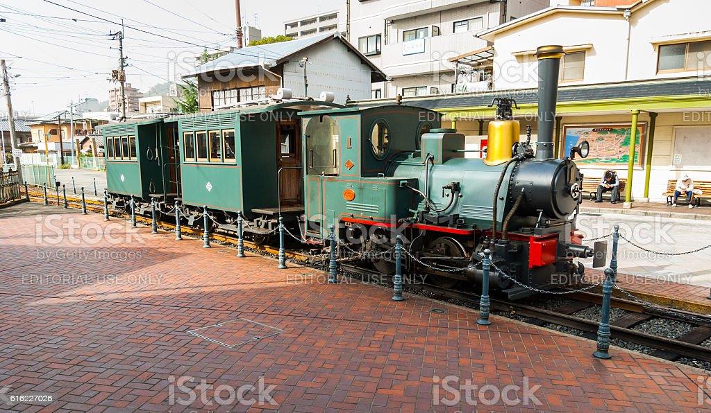'Botchan' train at Dogo-Onsen station in Matsuyama, Japan stock photo