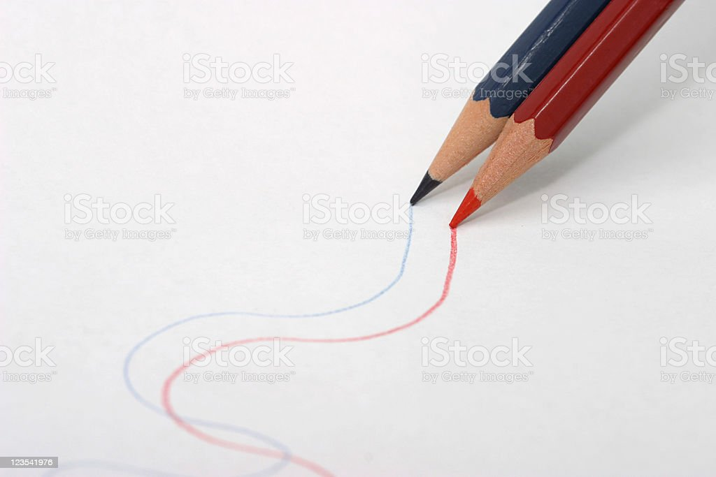 Both are drawing lines royalty-free stock photo