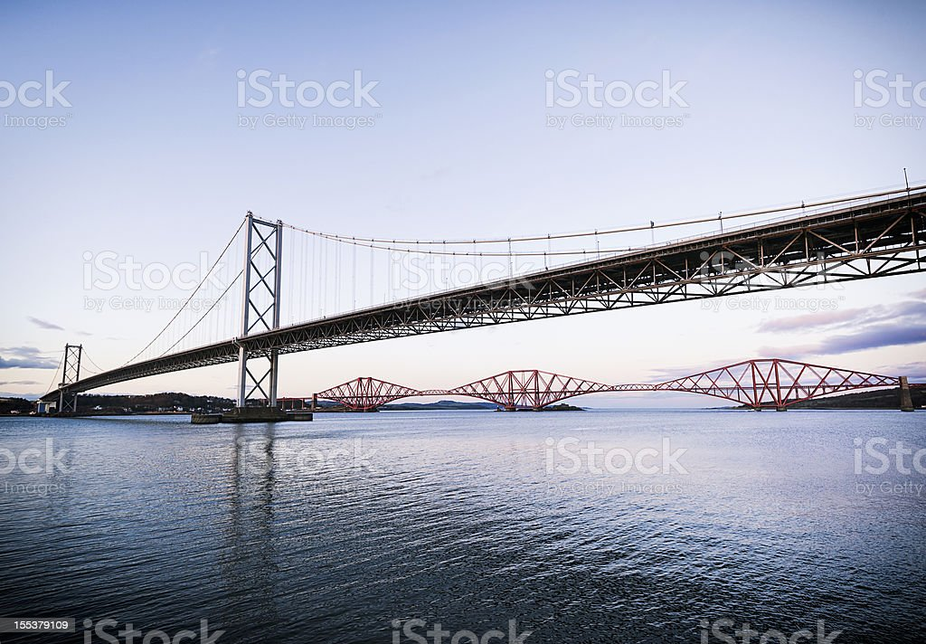 Both Forth Bridges stock photo
