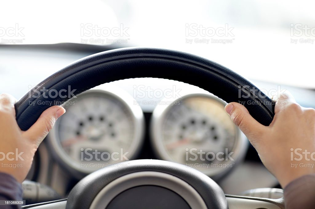 Both hands on the wheel stock photo