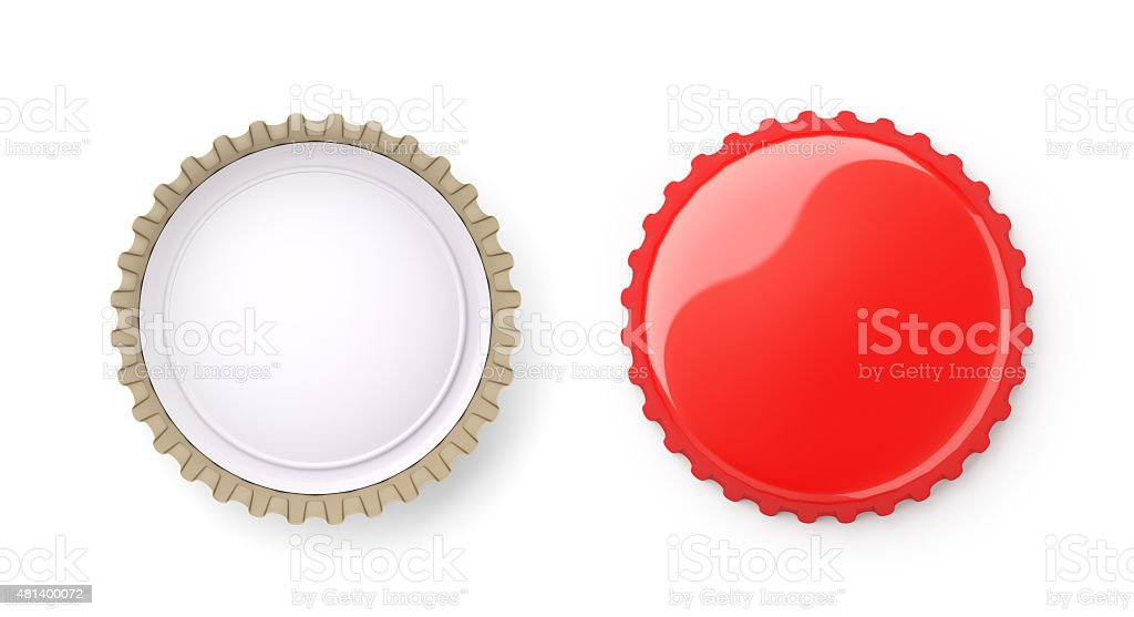 Both sides of a red metal bottle cap stock photo