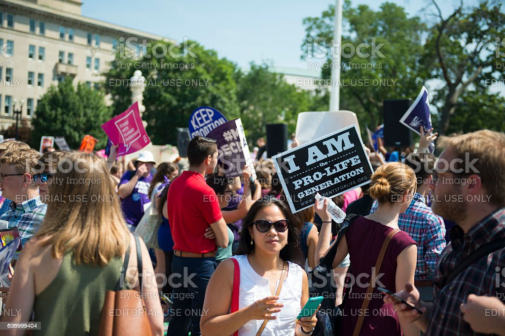 Both sides of abortion debate outsite US Supreme Court stock photo
