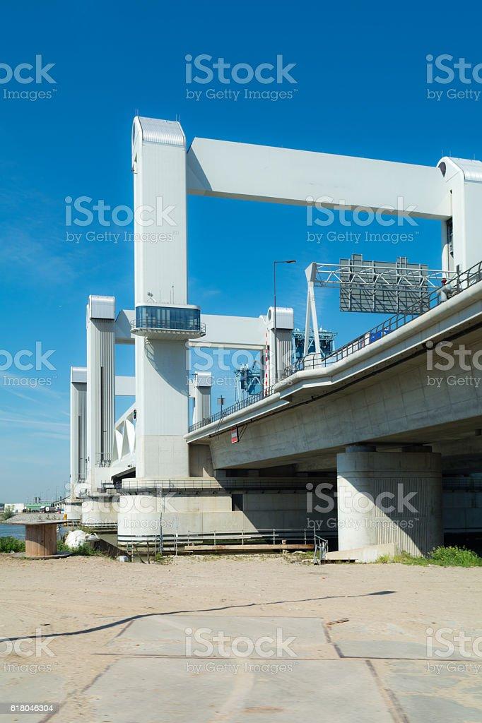 botlek bridge ground level stock photo