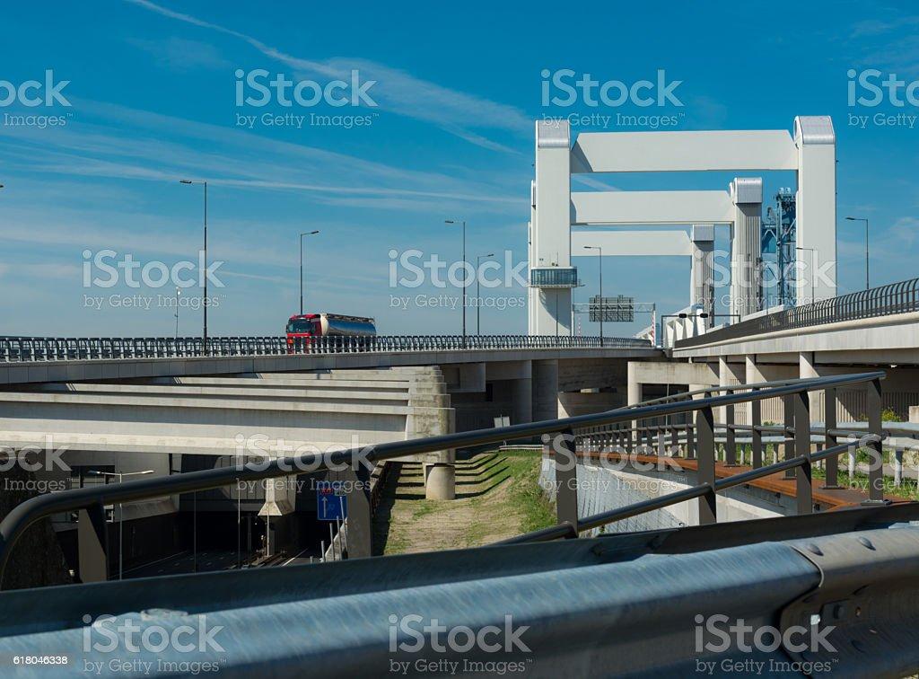 botlek tunnel (left) and botlek bridges stock photo