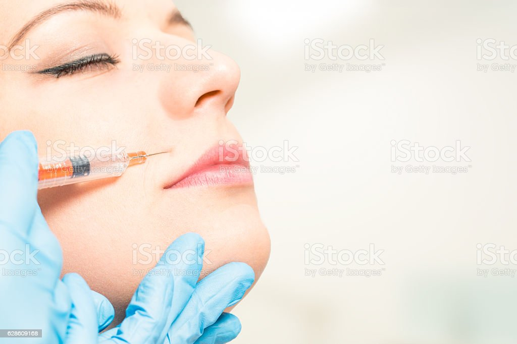 botox woman fillers spa facial young treatment syringe stock photo