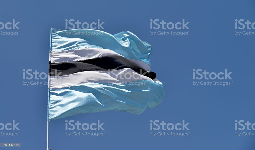 Botswana flag blowing in the wind. stock photo