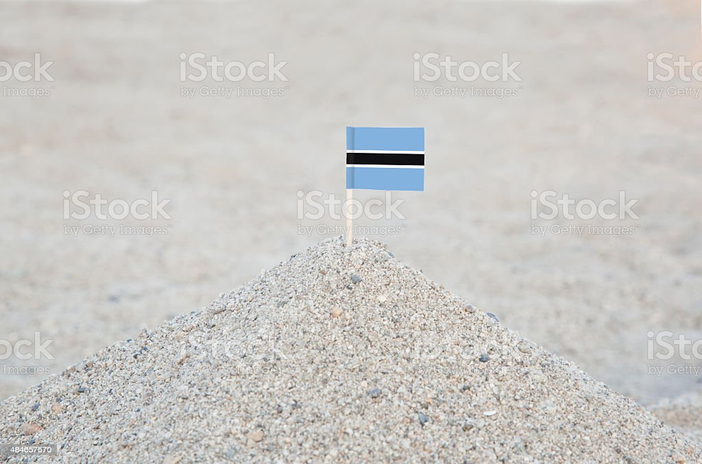 Botswana Flag on the beach stock photo