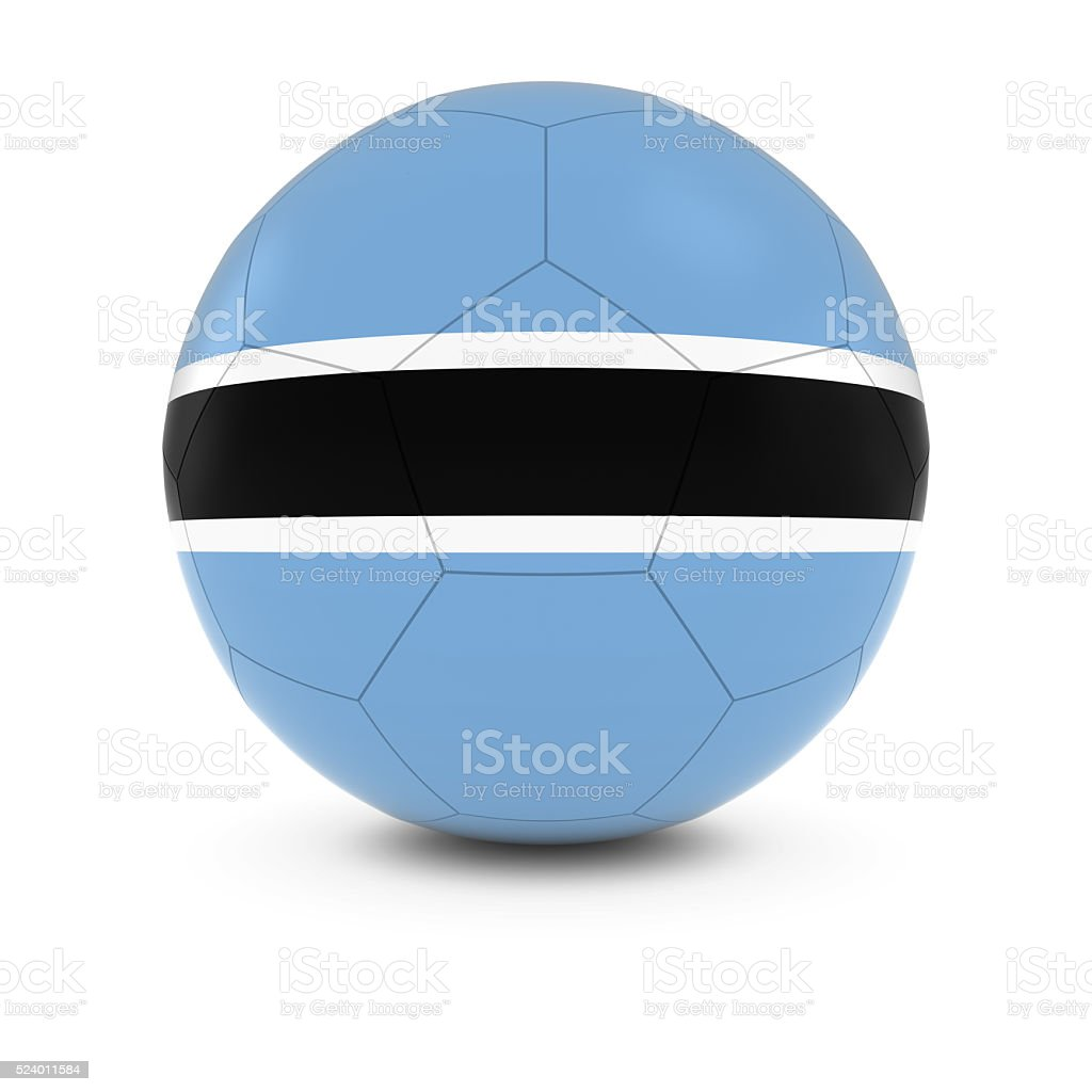 Botswana Football - Botswanan Flag on Soccer Ball stock photo