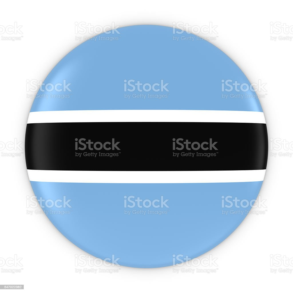 Botswanan Flag Button - Flag of Botswana Badge 3D Illustration stock photo
