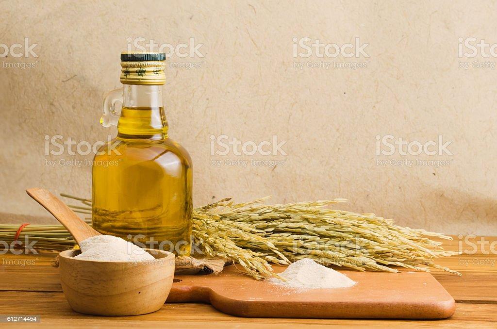 bottel of rice bran oil stock photo