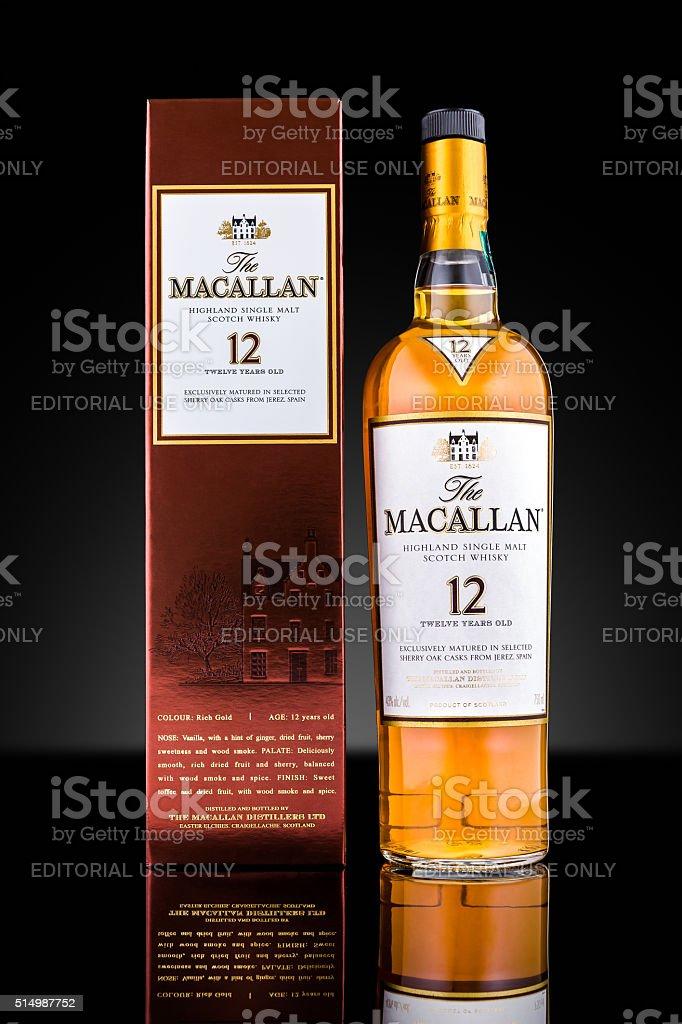 Bottle and case of Macallan single malt whisky stock photo