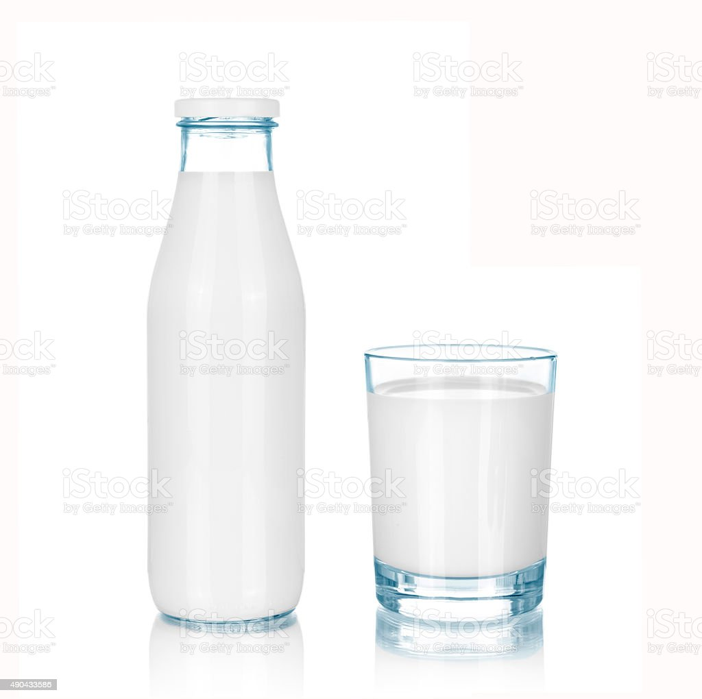 Bottle and glass of milk stock photo