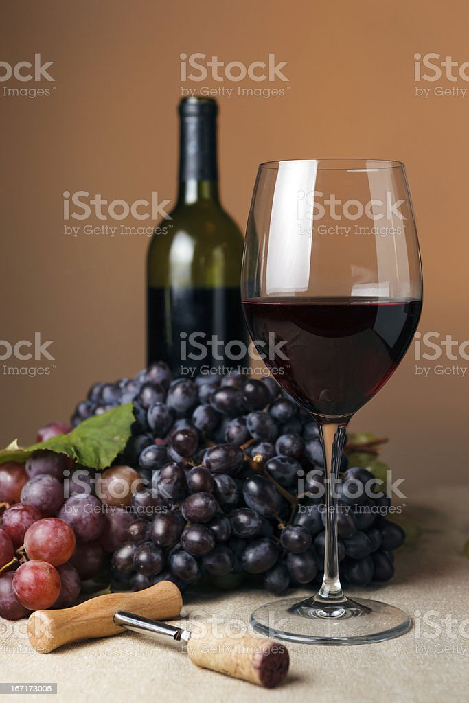 Bottle and glass of red wine royalty-free stock photo