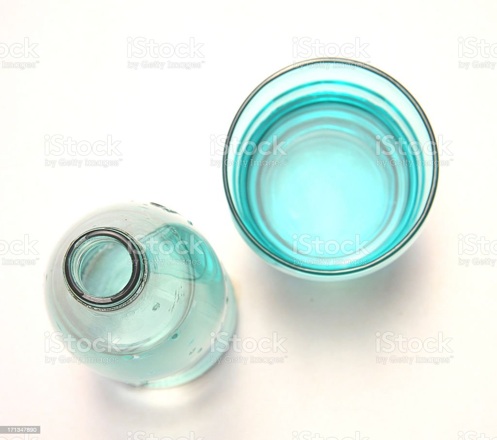 Bottle and glass of water royalty-free stock photo