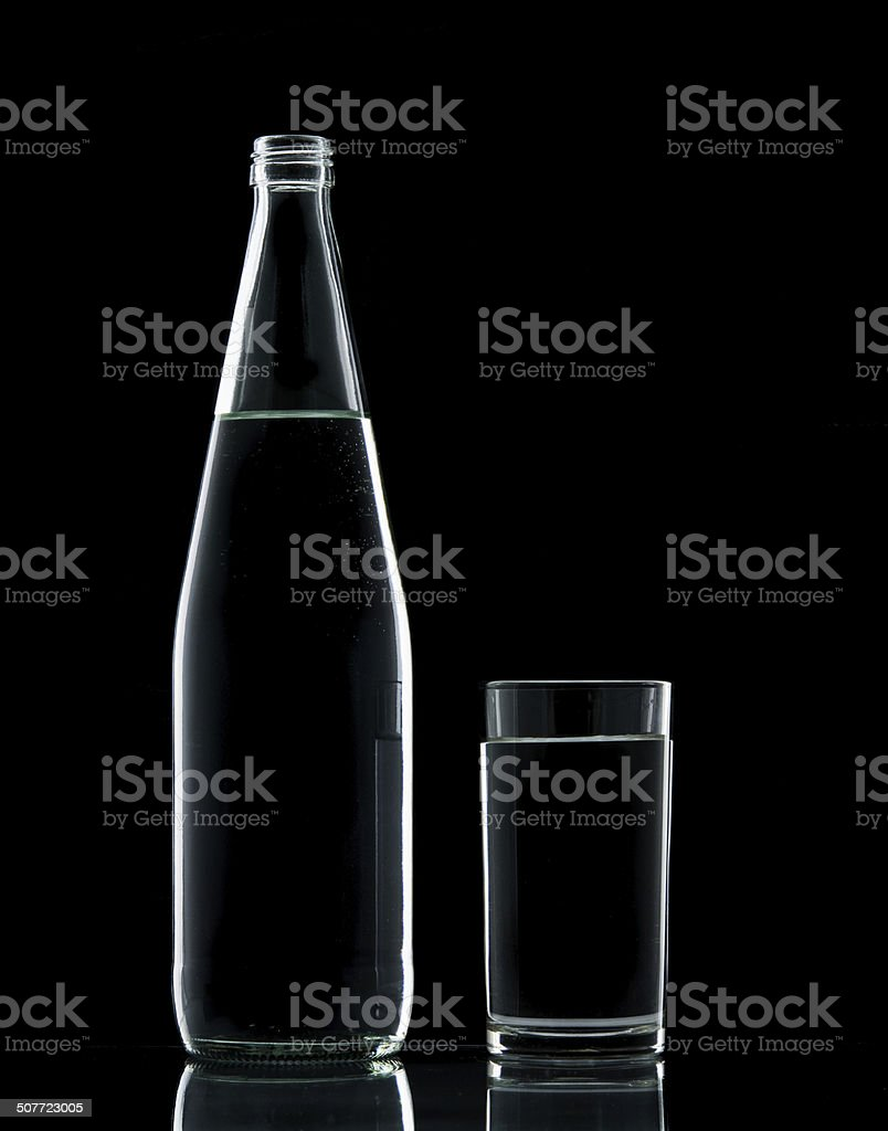 Bottle and Glass water clear isolate stock photo