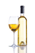 Bottle and Glass White Wine on White Background