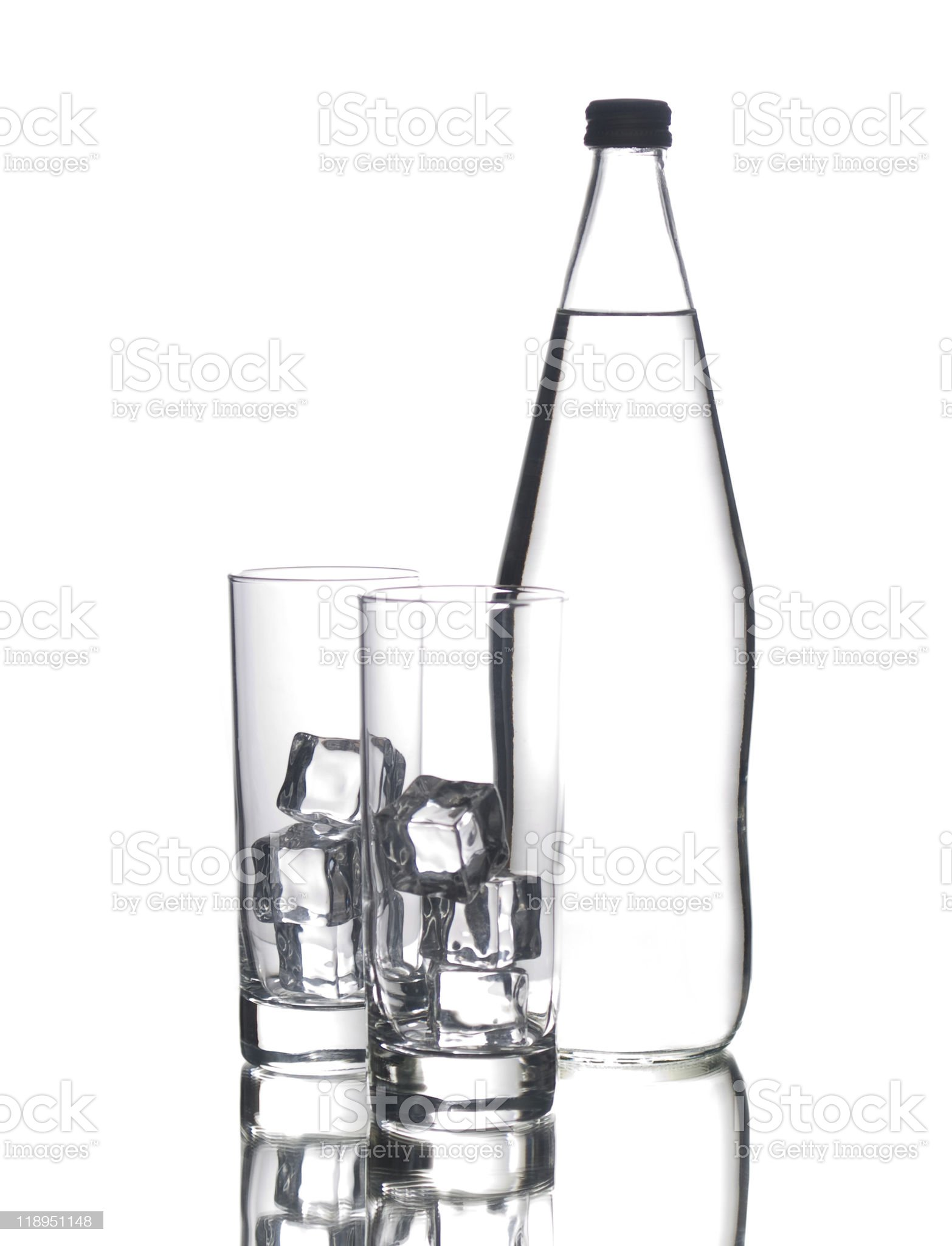 Bottle and two glasses royalty-free stock photo