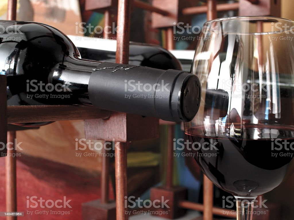 bottle and wine royalty-free stock photo