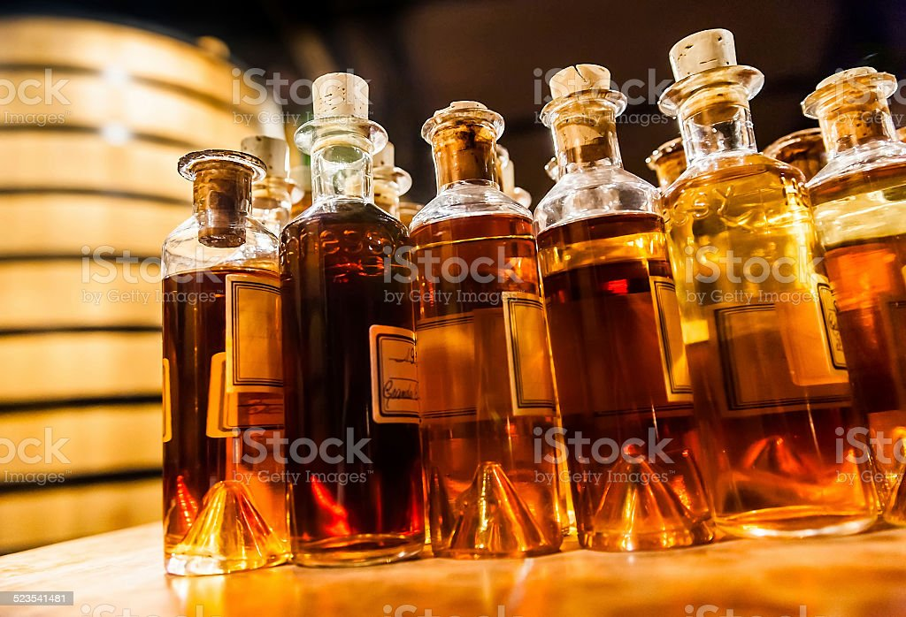 Bottle assembly for manufacturing traditional cognac stock photo