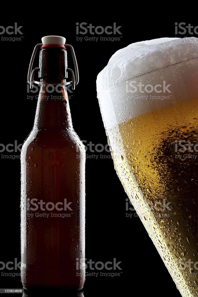Bottle Beer Pilsener with Snap Lock Isolated Black stock photo