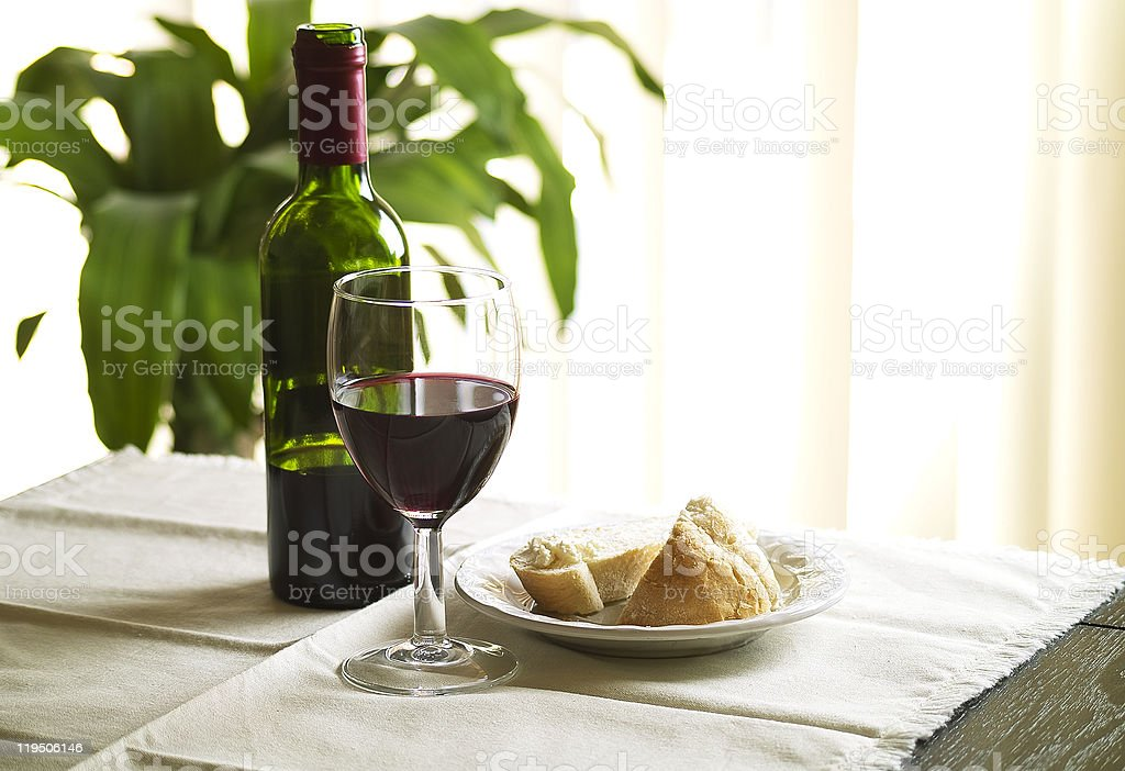 Bottle, Bread and Wine stock photo