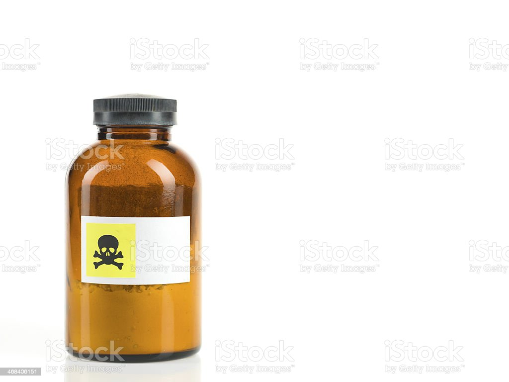 bottle containing toxic powder royalty-free stock photo
