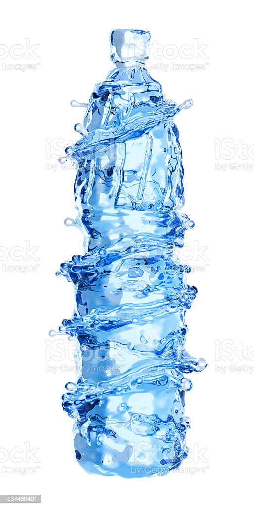 bottle from water and splash isolated on white background stock photo