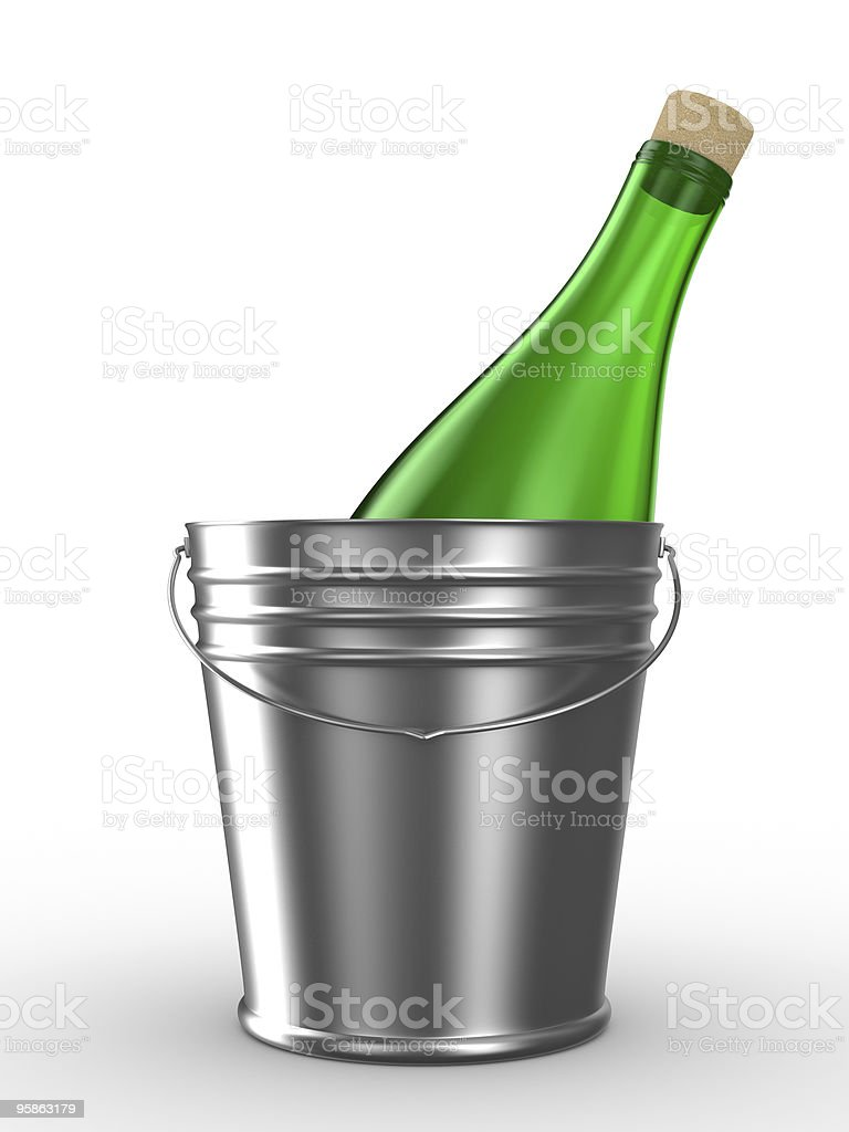 Bottle in bucket on white background. Isolated 3D image royalty-free stock photo