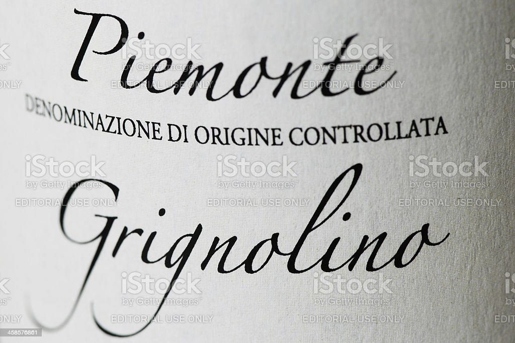Bottle label of Grignolino wine royalty-free stock photo