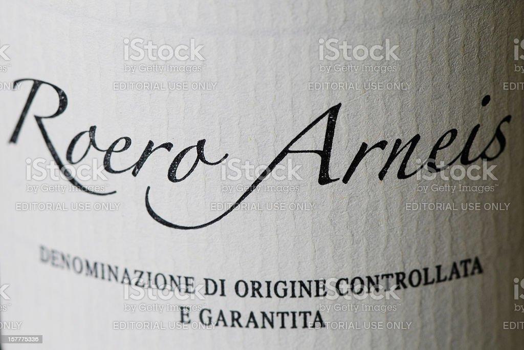 Bottle label of Roero Arneis wine royalty-free stock photo