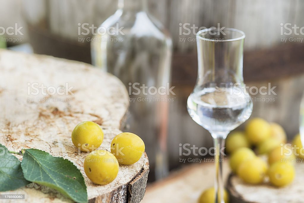 Bottle Mrabelle Fruit Brandy  Mirabellenschnaps Obstler royalty-free stock photo