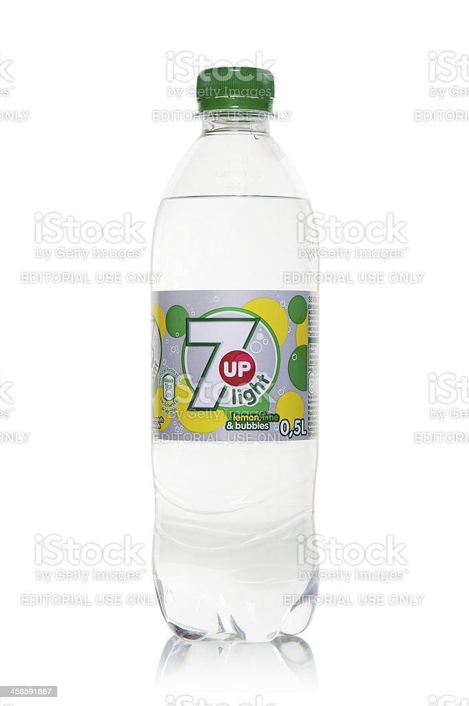 Bottle of 7up light - isolated on white stock photo