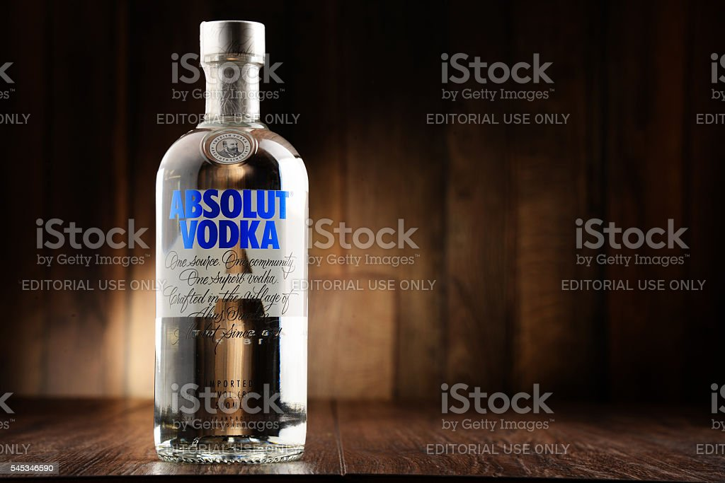 Bottle of Absolut Vodka stock photo