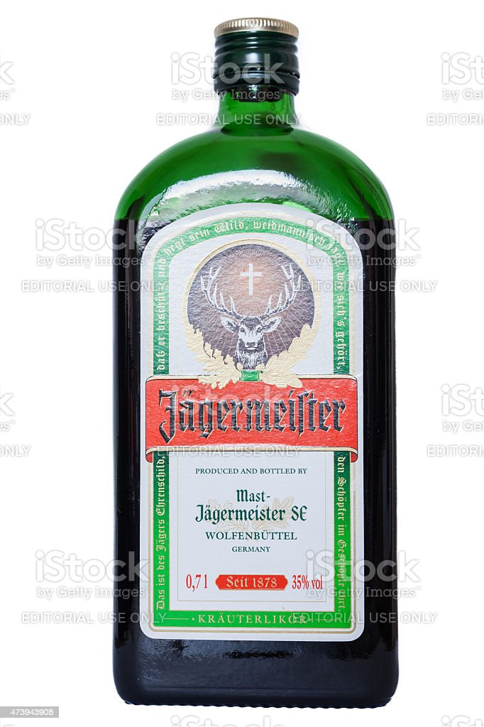 Bottle of Alcohol Jagermeister stock photo